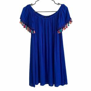 NWOT See You Monday Blue Tassel Off Shoulder Dress